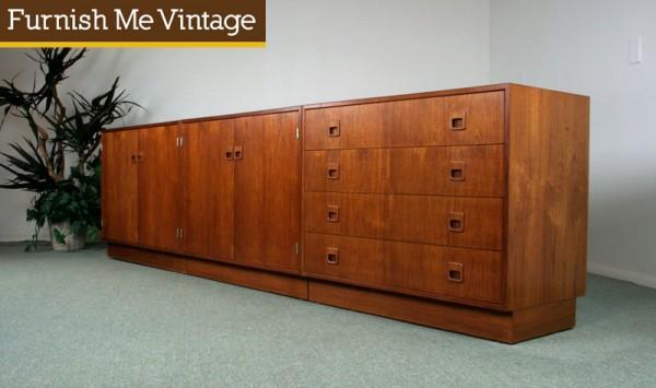 Dyrlund Danish Credenza : Vintage dyrlund danish 3 piece teak modular credenza