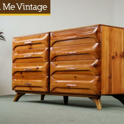 1950s,Franklin Shockey, Sculptured Pine, Dresser,rustic modern