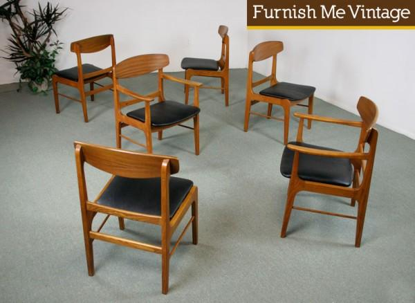 6 Mid Century Modern Stanley Danish Forum Chairs