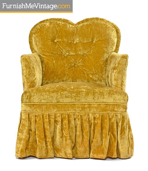 Bedroom Chairs,Petit, Crushed Velvet, Heart Shaped, Hollywood Regency,  Chartreuse Chairs