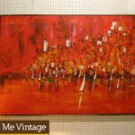 Large Signed Mid Century Modern Red Painting