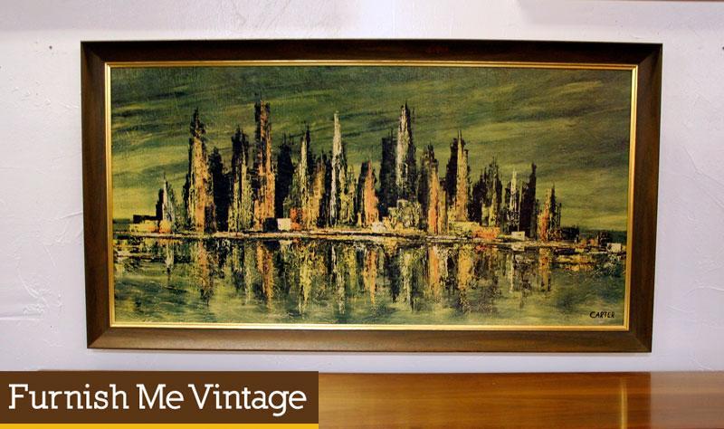 Mid Century Modern Vintage Large Cityscape Art