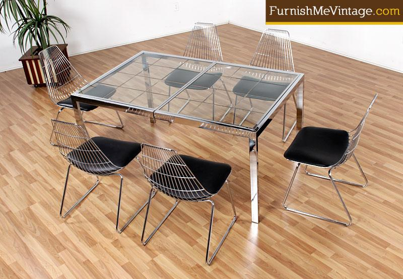 Vintage Chrome And Etched Glass Dining Table