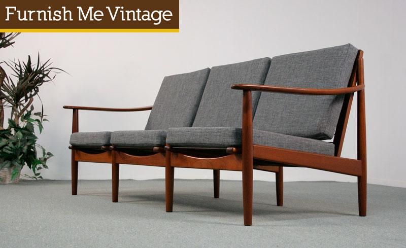 Matching Pair of Mid Century Danish Sofas