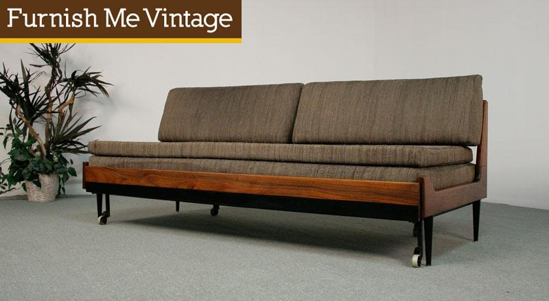 Vintage Danish Style Trundle Daybed Sofa