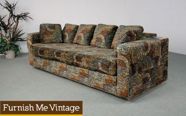 Huge Retro Velvet 1970s Sherrill Sofa