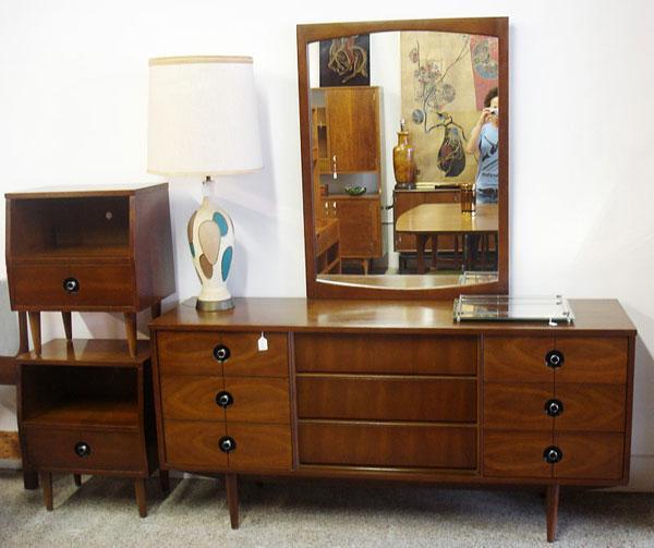 Mid Century Modern Walnut Stanley Bedroom Set