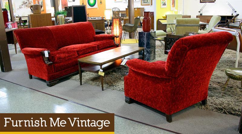 Vintage Red Velvet Sofa and Chair Living Room Set