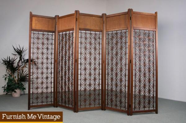 5 Panel Vintage Teak Screen Room Divider