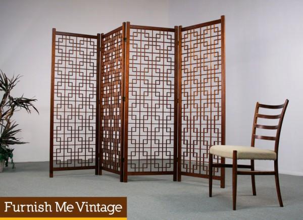 4 Panel Asian Modern Teak Room Divider Screen