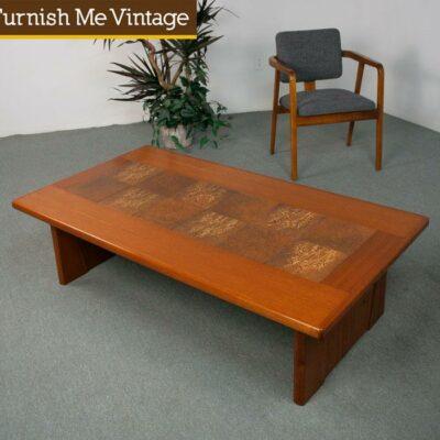 Large Vintage Danish Teak Coffee Table With Tile Sale