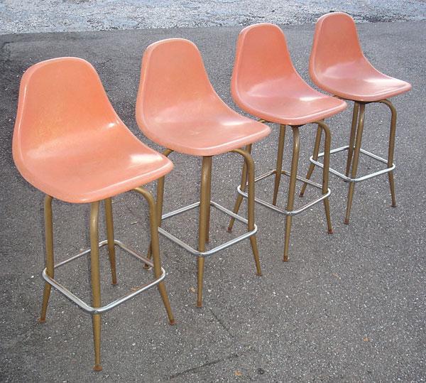 Brilliant Vintage Fiberglass Shell Chair Bar Stools Creativecarmelina Interior Chair Design Creativecarmelinacom