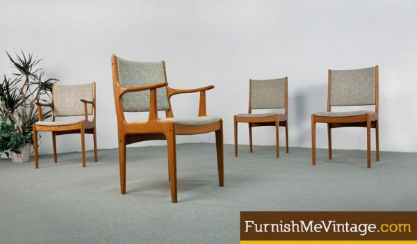 4 Scandinavia Woodworks Teak Chairs