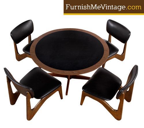 Mid Century Modern Gaming Table Set By Kroehler