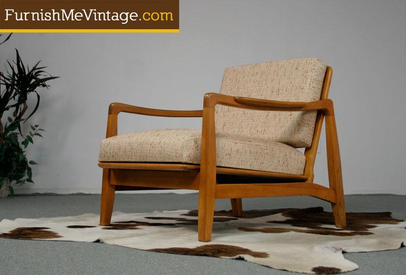 Refinished Retro Lounge Chair With NOS Upholstery