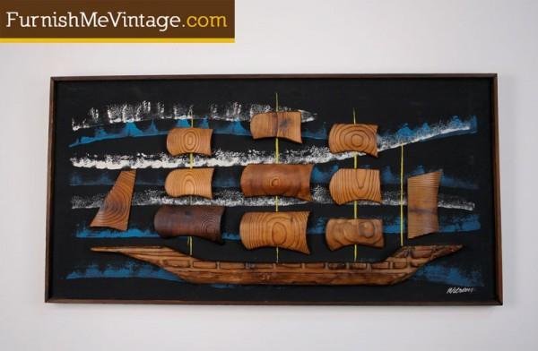 Retro Witco Wilrongo Tiki Carved Boat Wall Art