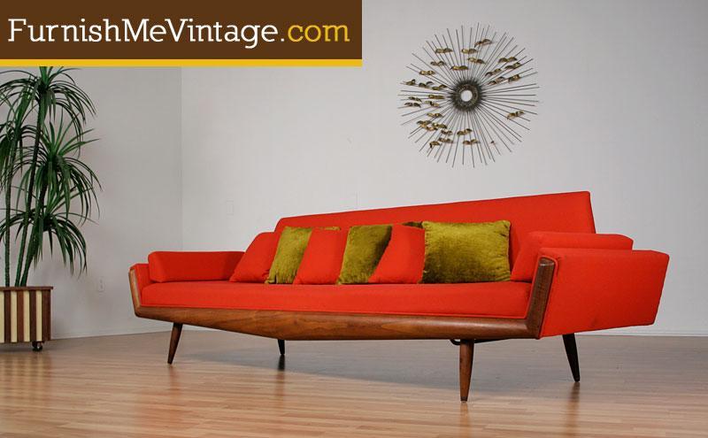 Red Mid Century Modern Adrian Pearsall Sofa
