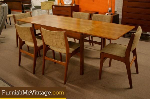 Narrow Mid Century Modern Danish Dining Table - Mid century modern small dining table