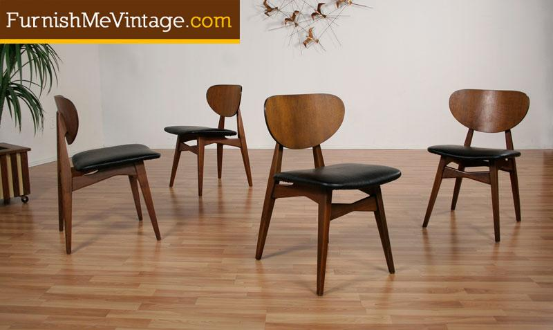 4 Mid Century Modern Round Back Dining Chairs