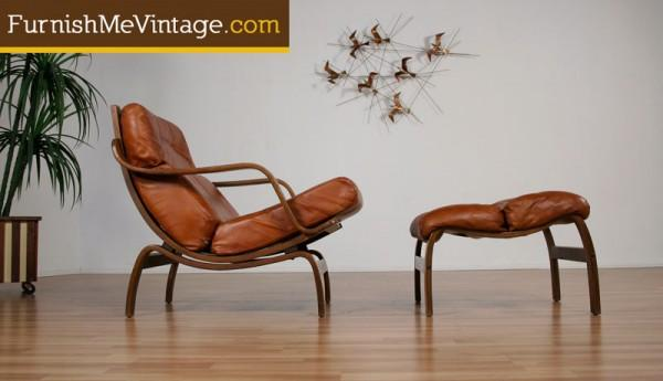 bent wood mid century modern chair with ottoman