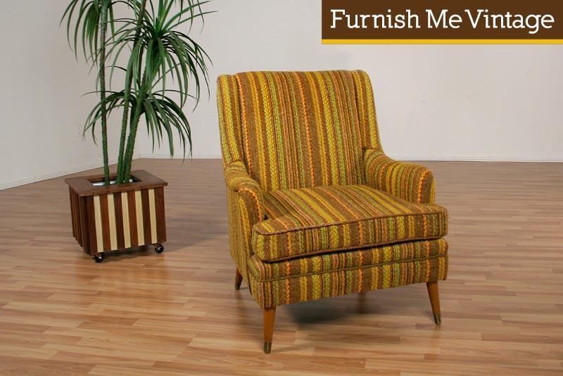 funky fabric striped retro arm chair