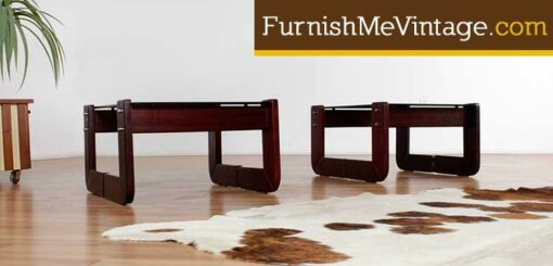 Pair of Percival Lafer Rosewood & Glass End Tables