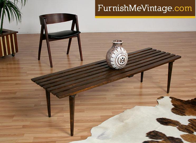 Long Mid Century Modern Slat Coffee Table