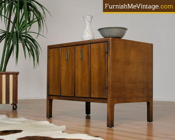 Mid Century Modern End Table Record Cabinet