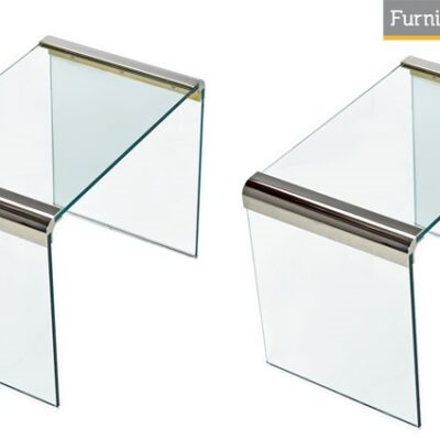 Pace Collection Chrome & Glass End Tables
