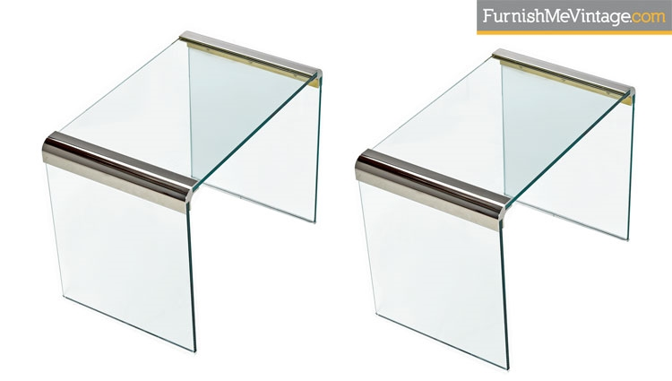 Pace Collection Chrome Glass End Tables