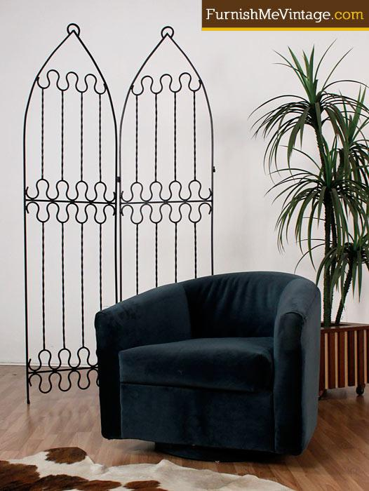 Retro Wrought Iron Room Divider Screen