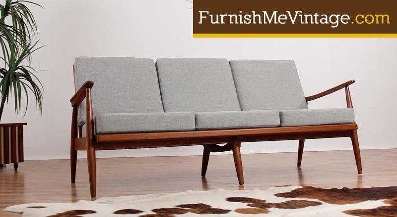 Mid Century Modern Reupholstered Scandinavian Sofa