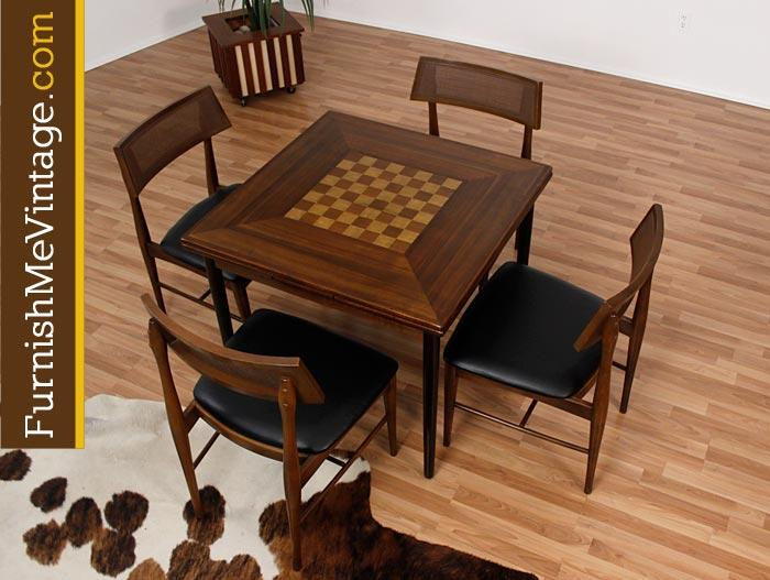 mid century danish gaming table with chess board