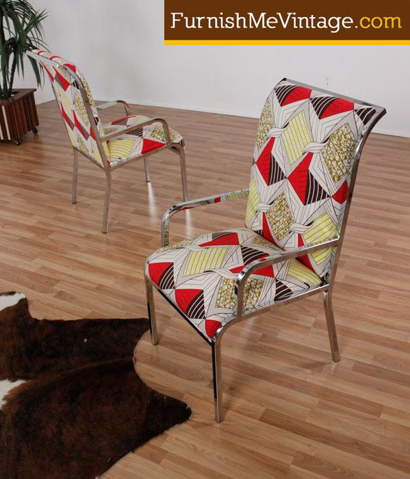 2 funky fabric vintage chrome arm chairs furnish me vintage