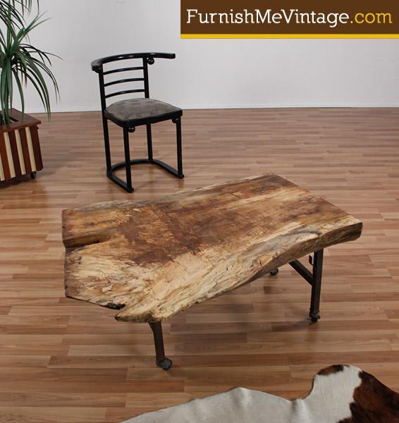 Vintage Handmade Slab Wood Coffee Table From: Rustic Wood Slab Industrial Coffee Table