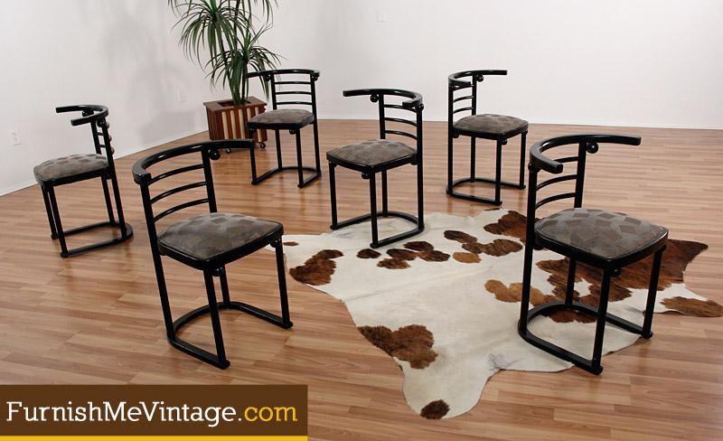 Six Josef Hoffmann Fledermaus Dining Chairs
