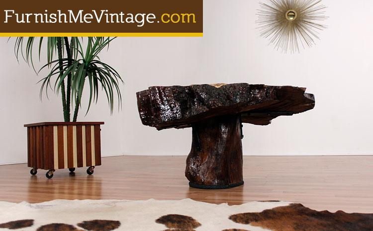 Vintage Cedar Slab Table With Abalone Shell