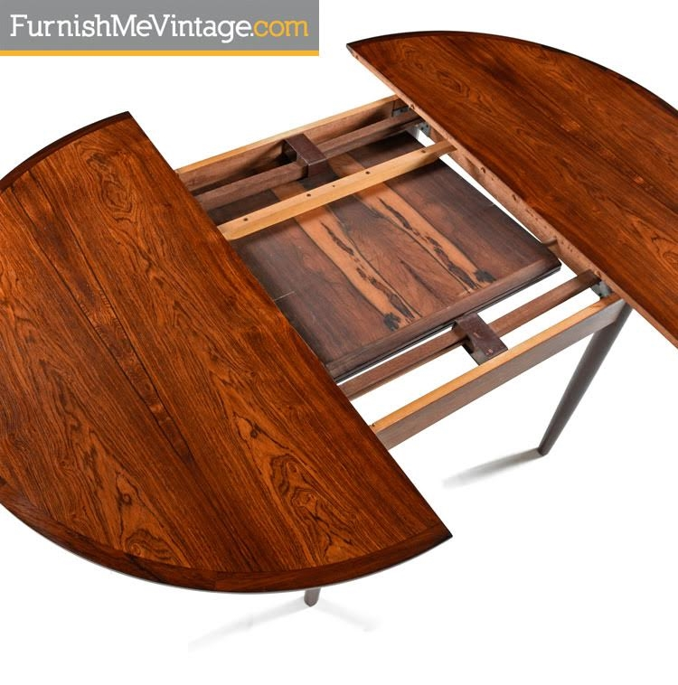 Round Dining Room Tables With Leaves: Danish Rosewood Butterfly Leaf Round To Oval Dining Table