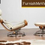 Leather and Chrome Modern Recliner with Ottoman