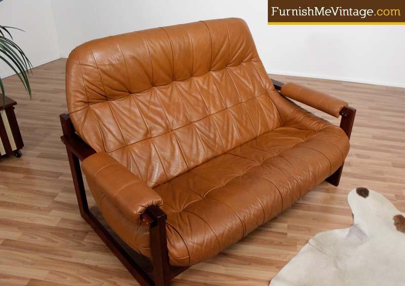 Enjoyable Mid Century Modern Leather Loveseat Bralicious Painted Fabric Chair Ideas Braliciousco