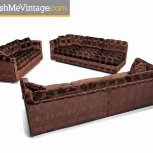 Milo Baughman Style Bernhardt Flair Division Velour 3-Piece Sofa Set, 1970's
