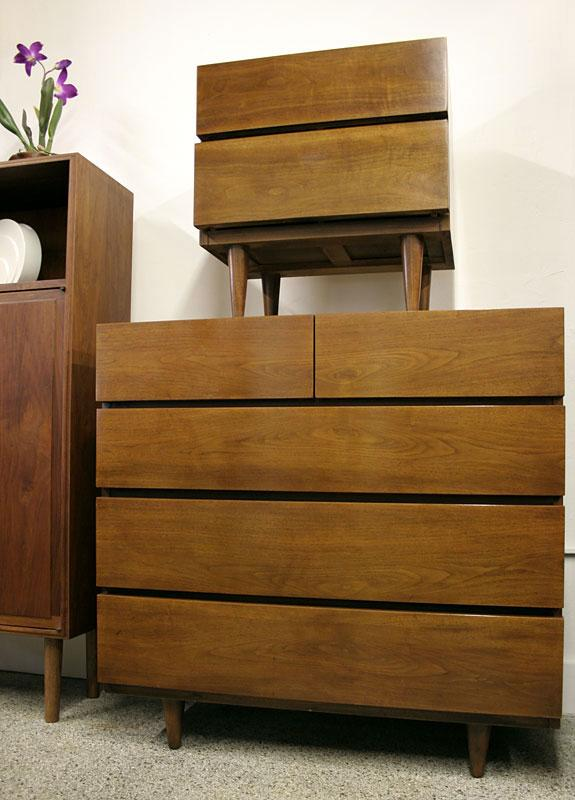 bedroom dresser 2 nightstands mid century american of 18039 | 4624 2