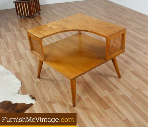 Mid Century Modern Maple Corner Table - Mid century modern corner table