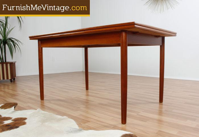 Draw Leaf Mid Century Modern Danish Teak Dining Table - Danish modern dining table with leaves