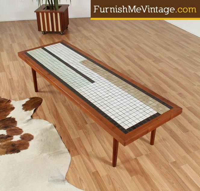 Mid Century Modern Mosaic Tile Top Coffee Table