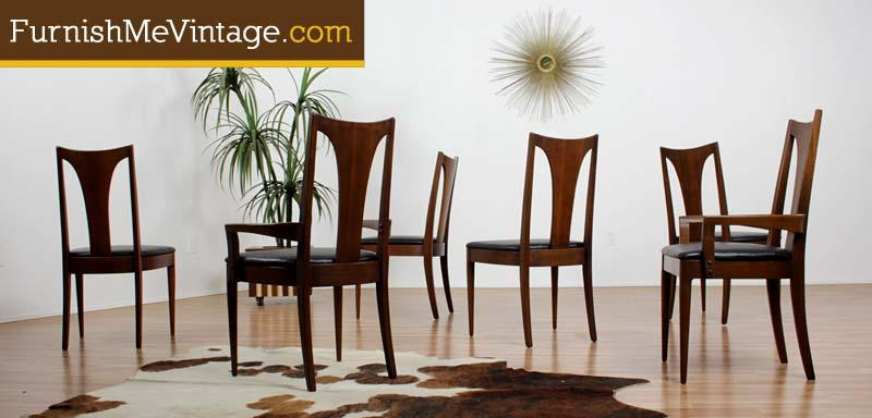Set Of Six Mid Century Modern Broyhill Emphasis Dining Chairs