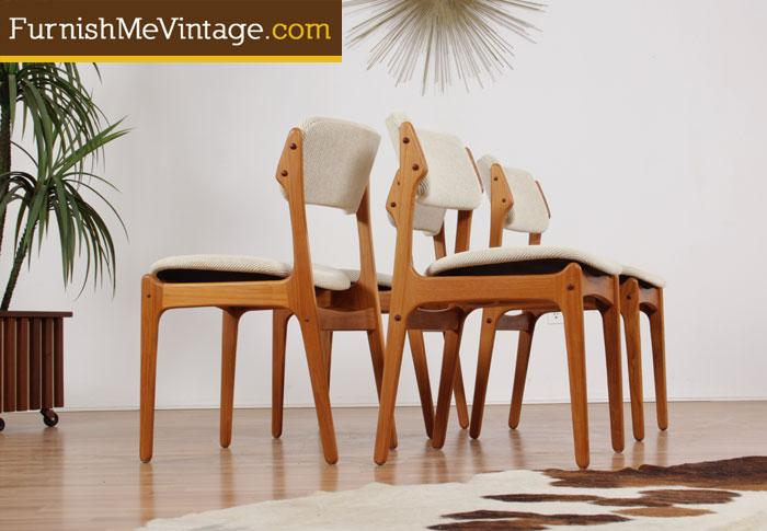 Enjoyable Set Of Four Mid Century Modern Danish Teak Dining Chairs Bralicious Painted Fabric Chair Ideas Braliciousco