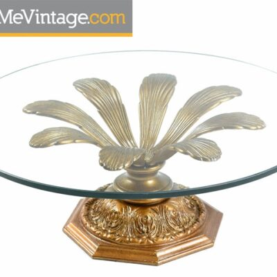 Hollywood Regency Gilded Metal Flower Petal Coffee Table