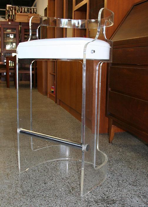 Retro 1960s 1970s Mid Century Modern Lucite Bar Stool