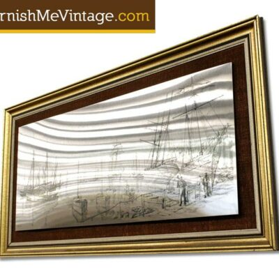 Mid Century Framed Stainless Steel Harbor Scene